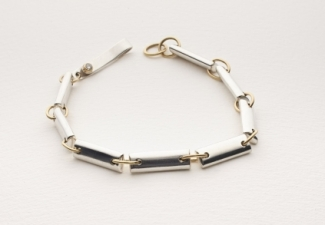 Bracelet - Silver with 18ct gold & diamond clasp