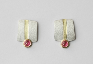 18ct gold and silver earrings with tourmalines
