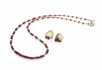 Gorgeous spinel faceted beads and 18ct gold. Co-ordinating earrings sold separately.