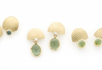18ct gold stud earrings with green tourmalines and diamonds
