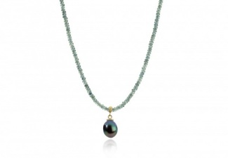 Faceted teal coloured natural sapphire beads with a peacock pearl drop. !8ct gold fittings and clasp