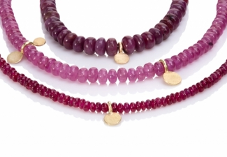 Three ruby necklaces with 18ct yellow gold features and clasps.