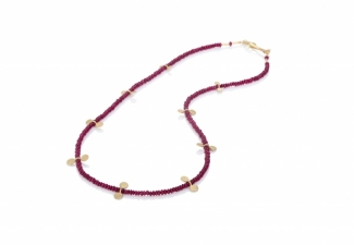 Rich red ruby rondelles with 18ct gold features and clasp