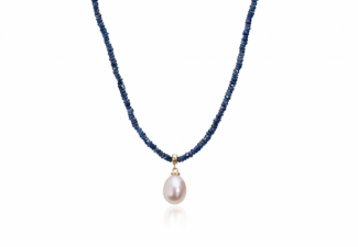 Sparkling denim blue faceted sapphires with a freshwater pearl drop and 18ct gold clasp
