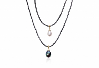 Sparkling faceted hematites with pearl drops and 18ct gold clasp