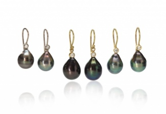 Pearls, diamonds and 18ct gold drop earrings. L/H are Tahitian pearls with 18ct white gold, centre are peacock freshwater pearls. with 18ct yellow gold and right hand pair are Tahitian pearls with 18ct yellow gold.