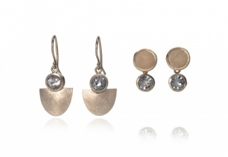 18ct white gold earrings with unusual grey spinels. Wires and studs