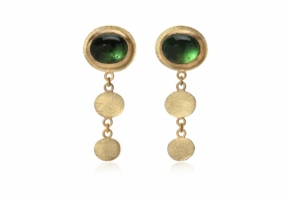 Glorious indicolite tourmaline cabochon stud earrings set in 18ct gold
