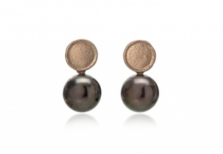 Tahitian grey round  pearls swing from 18ct white gold organic textured studs