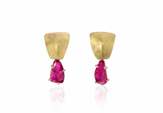 Stunning untreated rose cut Mozambique ruby slices swing from 18ct gold textured and folded studs.