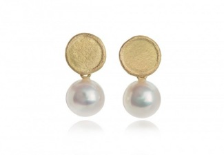 Organically shaped 18ct gold studs with 8.5-9.0 mm round pearls