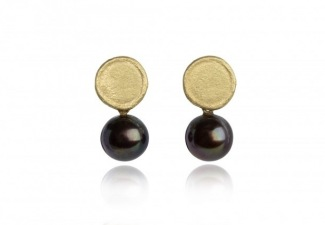 Organically shaped 18ct gold studs with 8.0mm round peacock pearls