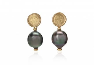 Tahitian grey pearls swing from organic textured studs in 18ct gold
