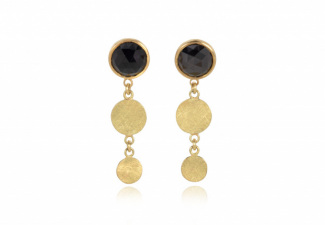 Black spinel checkerboard studs  with gold disc dropsSueLewis010