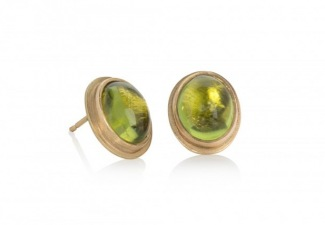 Oval peridot cabochon studs in matt textured 18ct gold