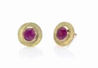 18ct gold textured stud earrings with Burmese ruby cabochons