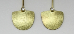 18ct yellow gold earrings with diamonds. Different widths and diamond sizes available to order. Also in 18ct white gold or silver.