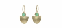 Columbian emerald cabochons set in 18ct gold, on wires.