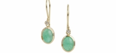 Oval Columbian emeralds on 18ct gold wires with diamonds