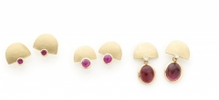 18ct gold earrings with diamonds, rubies or tourmaline drops