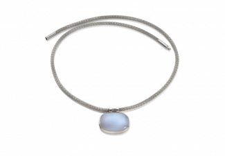 A  blue chalcedony set in polished silver on a steel necklace