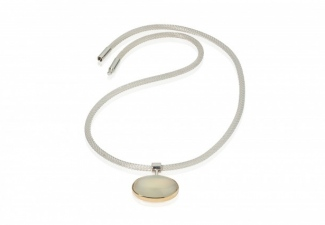 White cats eye moonstone set in 9ct gold and silver on a knitted steel necklace