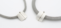 Necklaces - Silver, 18ct white gold and diamond pendants on steel bands