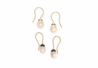 Pearl 'snowdrop' earrings: 18ct gold wires with 18ct gold cap or oxidised silver caps.