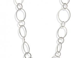 "Necklace - Silver hammered links (22"")"