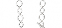"""Necklace - Silver hammered links (28"""")"""