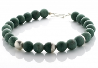 Necklace - Aventurine beads with silver features and clasp.