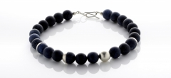 Necklace - Dumorterite beads with silver features and clasp.