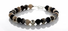 Necklace - Black geode beads with silver features and clasp.