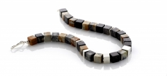 Necklace - Picasso jasper cubes with silver features and clasp.