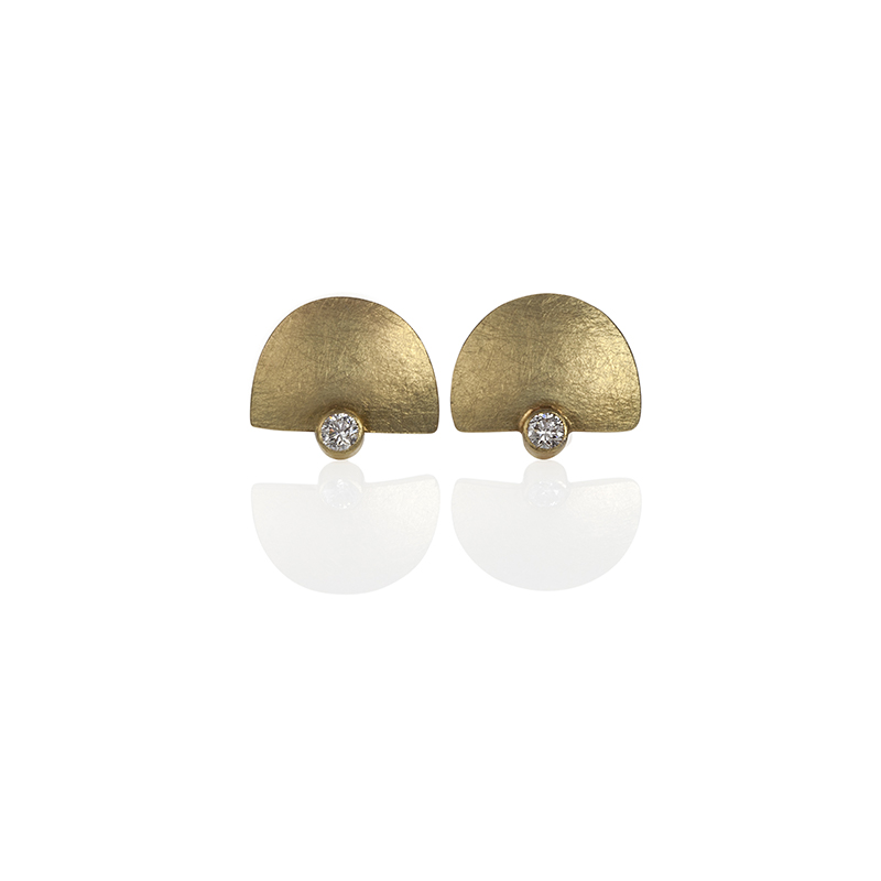 gold half moon earrings with diamond