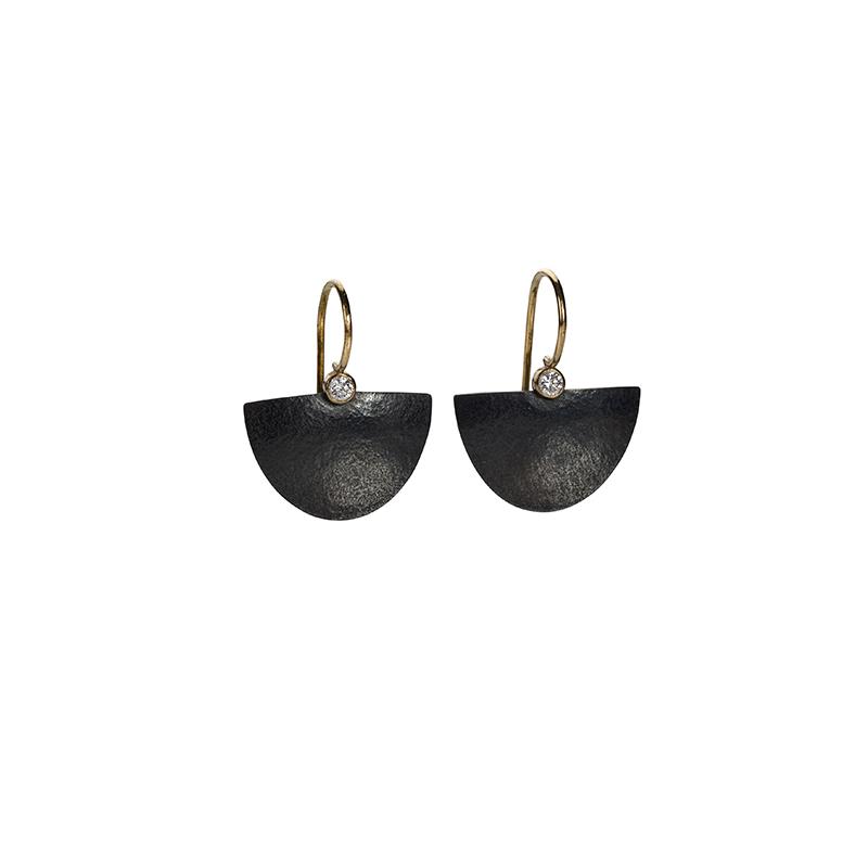 oxidised silver half moon drop earrings with diamond