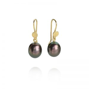 peacock drop pearl earrings with gold wires