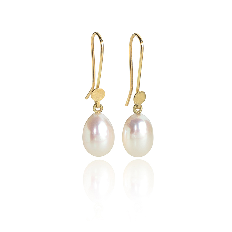 Natural drop pearl earrings on 18ct gold wires