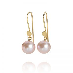 Pink South Sea pearl earrings on 18ct gold wires
