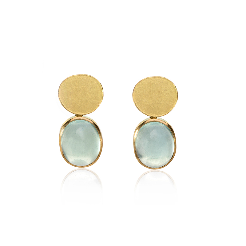 aquamarine oval cabochons earrings with gold