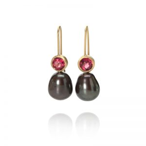 Drop earrings with faceted garnets and dark peacock pearls