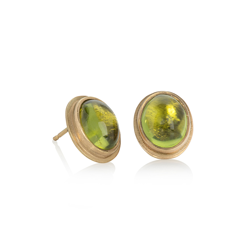 Intensely coloured oval peridot cabochon earrings