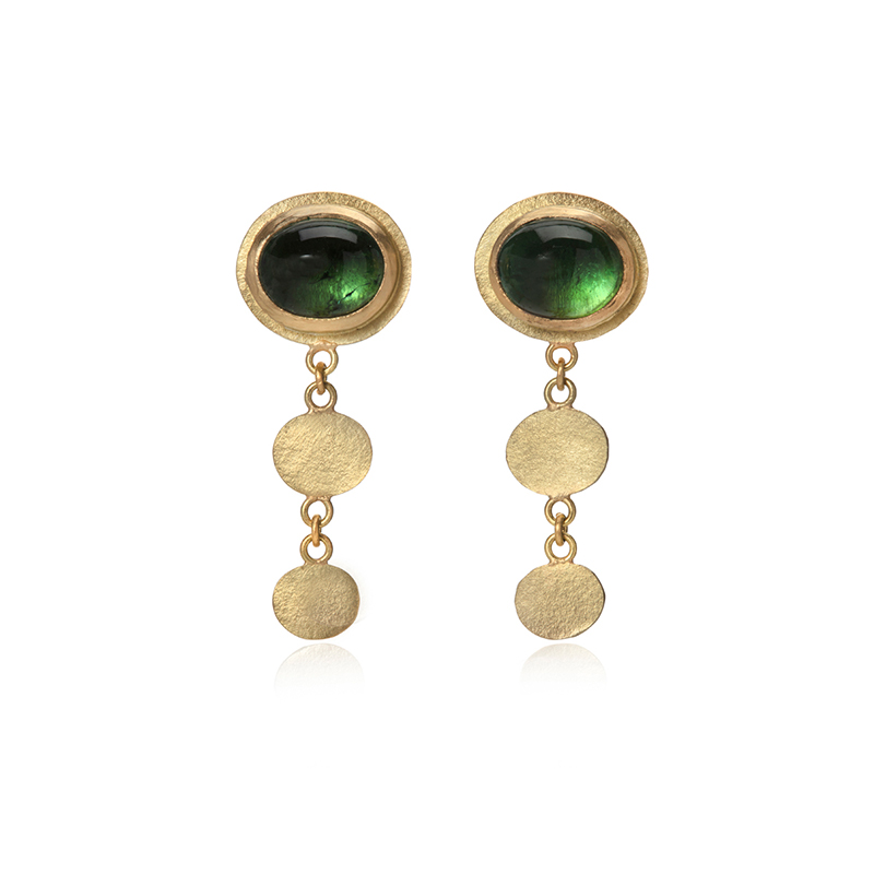 green tourmaline and gold stud earrings